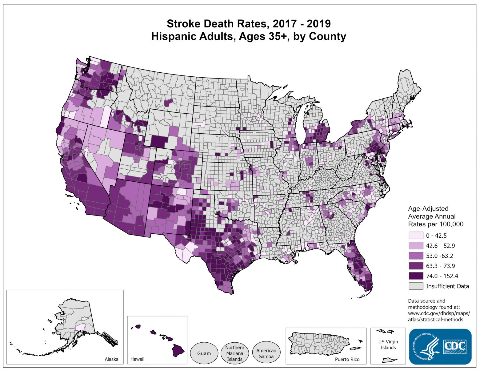 Stroke Death Rates for 2011 through 2013 for Hispanics Aged 35 Years and Older by County. The map shows that concentrations of counties with the highest stroke death rates - meaning the top quintile - are located primarily in Hawaii and Texas. Pockets of high-rate counties also are found in Colorado, Oklahoma, and Indiana.