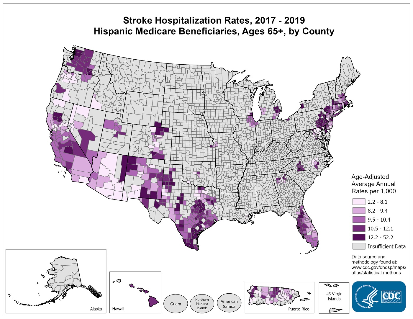 Stroke Hospitalization Rates for 2010 through 2012 for Hispanics Aged 65 Years and Older by County. The map shows that concentrations of counties with the highest stroke hospitalization rates - meaning the top quintile - are located primarily in Texas, Massachusetts, and New York.