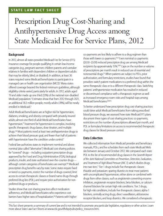 Prescription Drug Cost-Sharing and Antihypertensive Drug Access among State Medicaid Fee for Service Plans, 2012