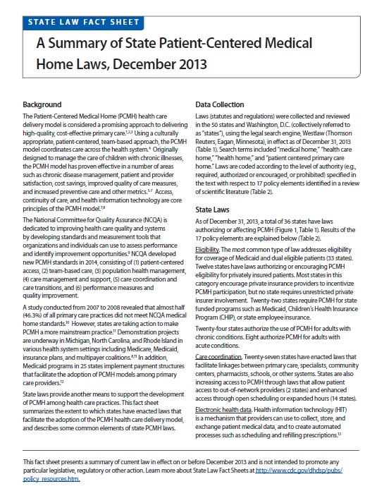 A Summary of State Patient-Centered Medical Home Laws, December 2013