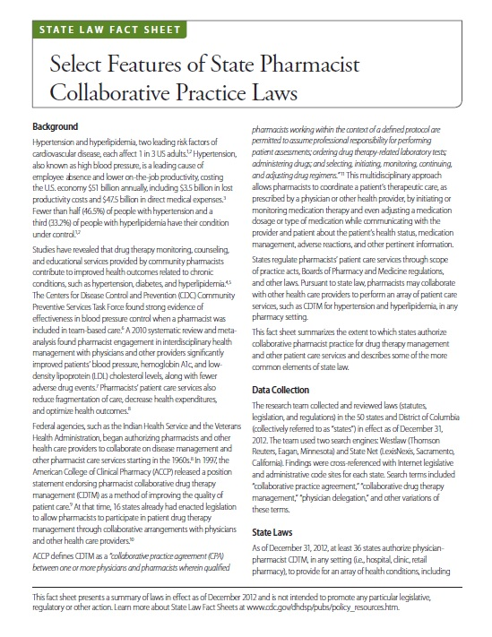 Select Features of State Pharmacist Collaborative Practice Laws