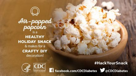 Air-popped popcorn is a healthy holiday snack and makes for a crafty diy decoration!