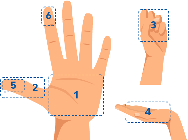 Hand figure portion graphic palm of hand is 3 ounces of meat, fish, or poultry. thumb tip to base is 1 ounce of meat or cheese, fist is 1 cup or 1 medium piece of fruit, cupped hand is 1-2 ounces of nuts, thumb tip is 1 tablespoon, fingertip is 1 teaspoon