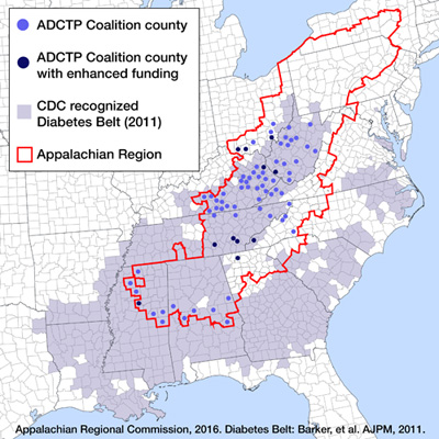 Map illustrating diabetes in the Appalachian Region. The map outlines the 420 counties in 13 states within a 205,000-square mile area within the Appalachian Mountains from southern New York to Northern Mississippi. The map shows a shaded area representing the 2011 CDC recognized Diabetes Belt. Within this area the map outlines in red the Appalachian Region. The map highlights with dots the counties with active Appalachian Diabetes Control and Translation Projects. Stars denote Appalachian Diabetes Control and Translation Project counties that received enhanced funding.
