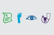 icons for a prescription, a foot, an eye and a tooth with a stetheoscope around it