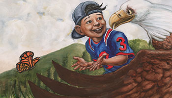 drawing of child talking with an eagle