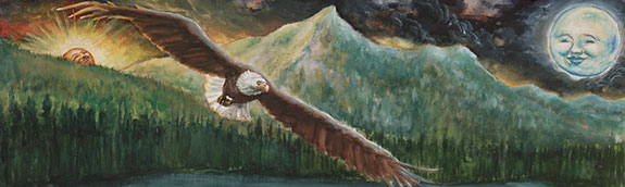 illustration of an eagle flying in front of a moutain with the sun on the left and moon on the right