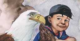 illustration of child with an eagle