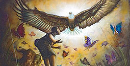 illustration of an eagle and butterflies