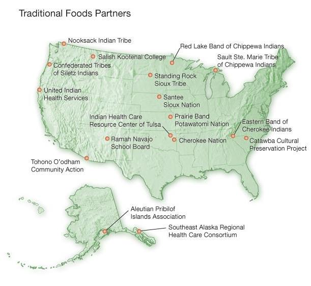 Traditional Foods Partners US map with grantee names