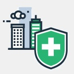 icon city buildings and medical aid symbol