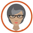 gray-haired woman with glasses clipart