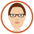 woman with short hair & glasses clipart