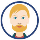young bearded man clipart