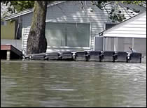 Photo of a flooded neighborhood.