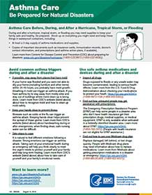 cover image of pdf entitled asthma Care - Be Prepared for Natural Disasters