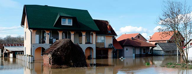 a picture of flooded homes