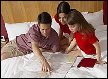 Family reviewing evacuation plans