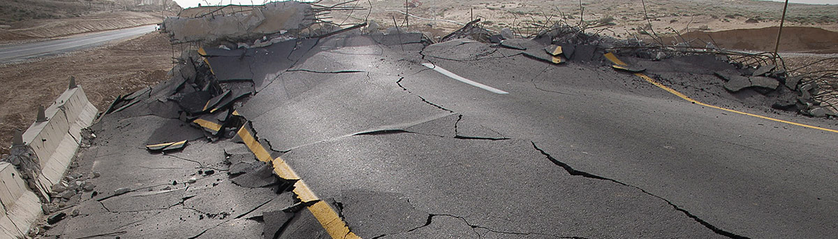 Street destroyed by an earthquake