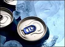 Photo of cold beverage cans in ice.