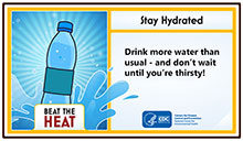 Info graphic that says beat the heat and shows a drawing of a water bottle
