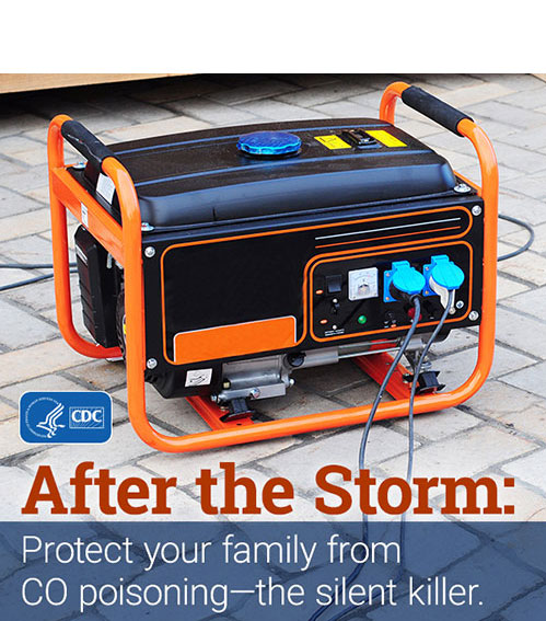 After the storm: protect your family from CO poisoning - the silent killer. (Image of a portable generator)