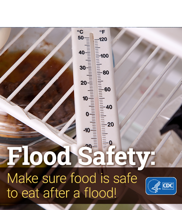 Flood Safety: Make sure food is safe to eat after a flood (image shows thermometer in a refrigerator)