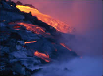 Photo of volcano lava flow.