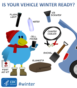 Is Your Vehicle Winter Ready? - A bird character near the back of a vehicle with a water bottle, flash light, ice scraper, jumper cables, cell phone, shovel, first aid kit, and blankets.