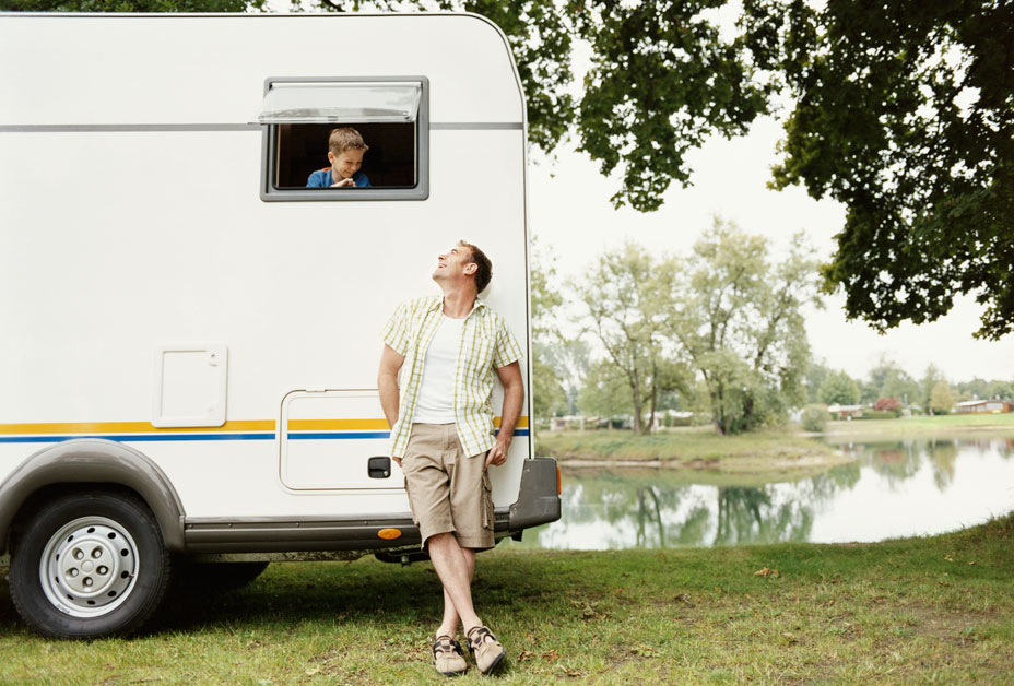 Family with camper