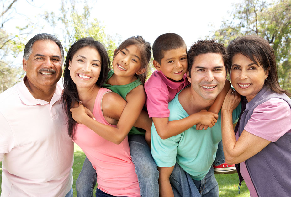 Large family smiling