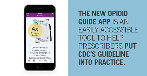 image of the mobile app; The new Opioid Guide App is an easily accessible tool to help prescribers put CDC's Guideline into practice