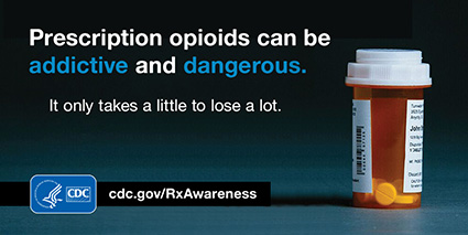 Prescription opioids can be addictive and dangerous. It only takes a little to lose a lot. cdc.gov/rxawareness