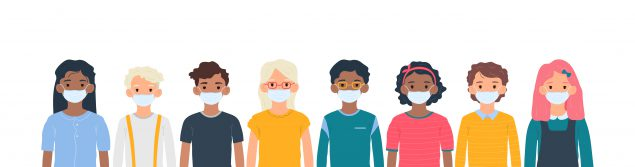illustration of a diverse line of people wearing masks