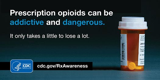 Prescription opioids can be addictive and dangerous. It only takes a little to lose a lot. HHS/CDC cdc.gov/RxAwareness