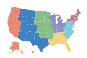 Map of U.S. showing AR Lab Network regions in different colors