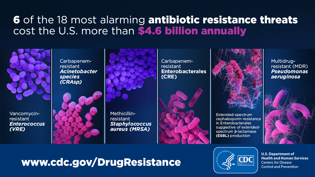 Image stating that six of the 18 most alarming antibiotic resistance threats cost the U.S. more than $4.6 billion annually. The image shows a scientific illustration of the six germs:   Vancomycin-resistant Enterococcus (VRE), Carbapenem-resistant Acinetobacter species (CRAsp), Methicillin-resistant Staphylococcus aureus (MRSA), Carbapenem-resistant Enterobacterales (CRE), Extended-spectrum cephalosporin resistance in Enterobacterales suggestive of extended-spectrum β-lactamase (ESBL) production, and Multidrug-resistant (MDR) Pseudomonas aeruginosa.