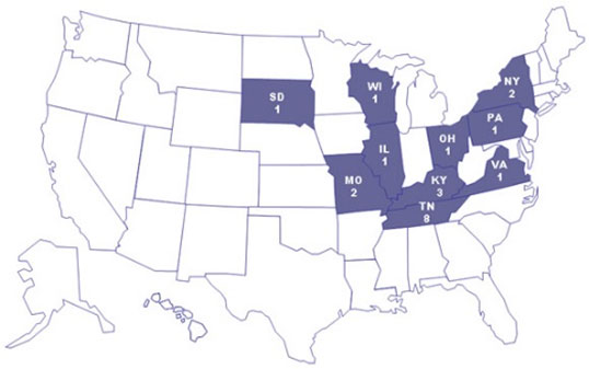 Map: Persons infected with the outbreak strain of <em>E. coli</em> O157:H7, by state of residence, as of October 31, 2007 (n=21)