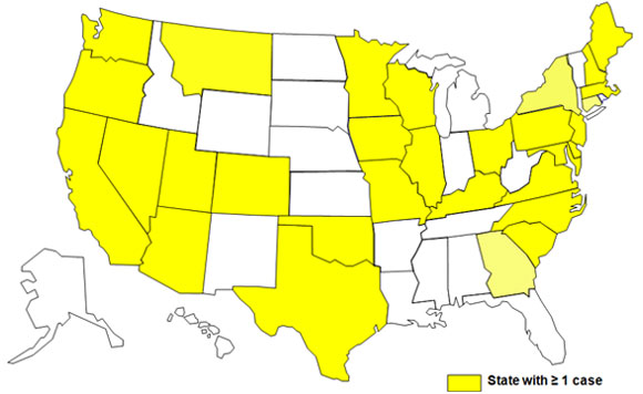 Final Case Count Map: Persons infected with the outbreak strain of E. coli O157:H7, by state of residence, as of June 30, 2009 (n=72)