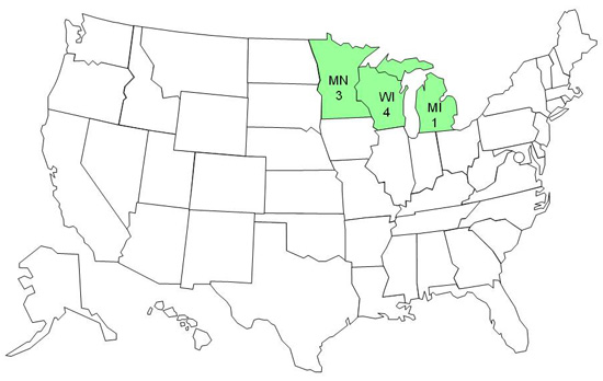 Final Case Count Map: Persons infected with the outbreak strain of E. coli O157:H7, by state, as of April 1, 2011 (n=8)