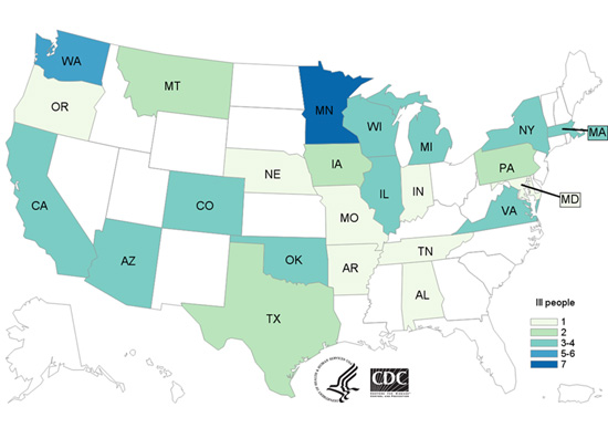Case Count Map: People infected with the outbreak strain of E. coli O121, by state of residence, as of September 28, 2016