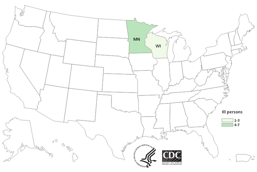 People infected with the outbreak strain of E. coli O157, by state of residence, as of February 24, 2016 (n=9)
