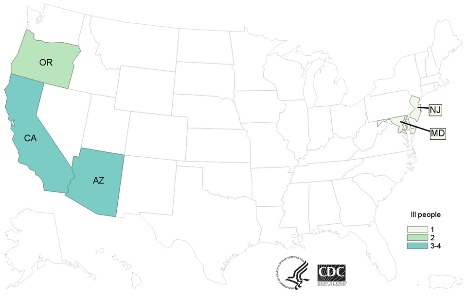 Case Count Map: People infected with the outbreak strain of E. coli O157:H7, by state of residence, as of March 2, 2017