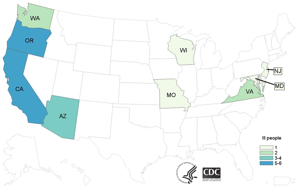 Case Count Map: People infected with the outbreak strain of E. coli O157:H7, by state of residence, as of March 17, 2017