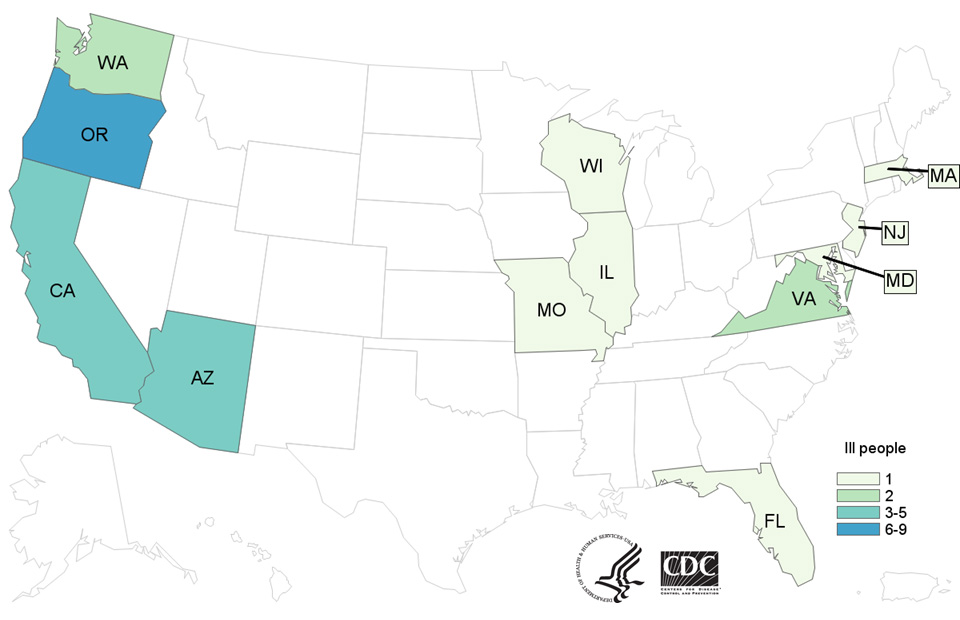 Case Count Map: People infected with the outbreak strain of E. coli O157:H7, by state of residence, as of March 28, 2017