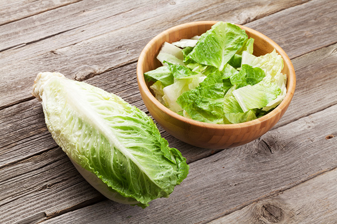 Photo of chopped romaine lettuce