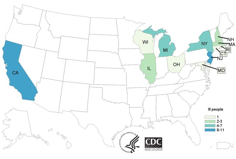 cdc e. coli outbreak map november 26, 2018