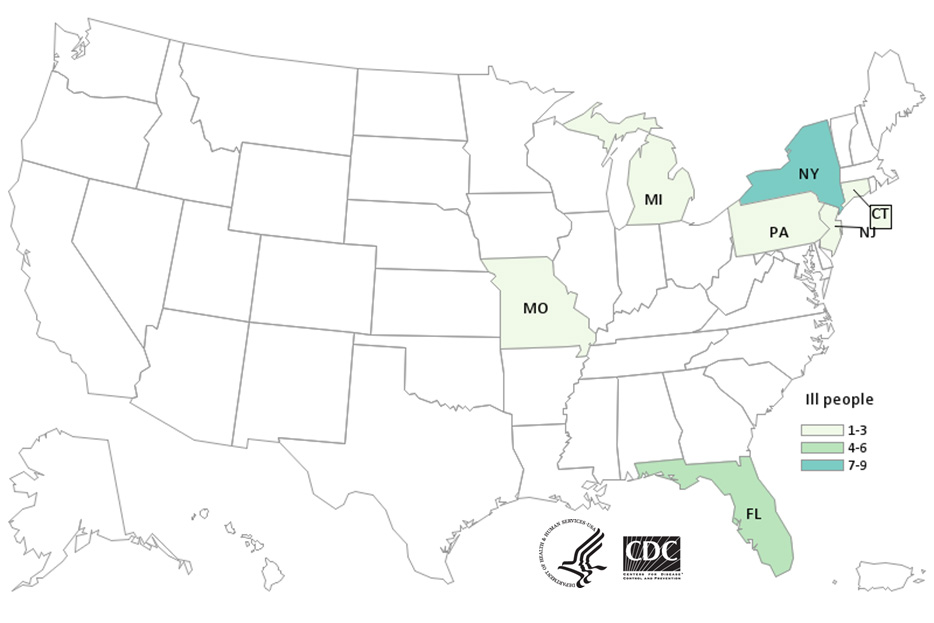 Map of United States - People infected with the outbreak strain of E. coli, by state of residence, as of July 12, 2019