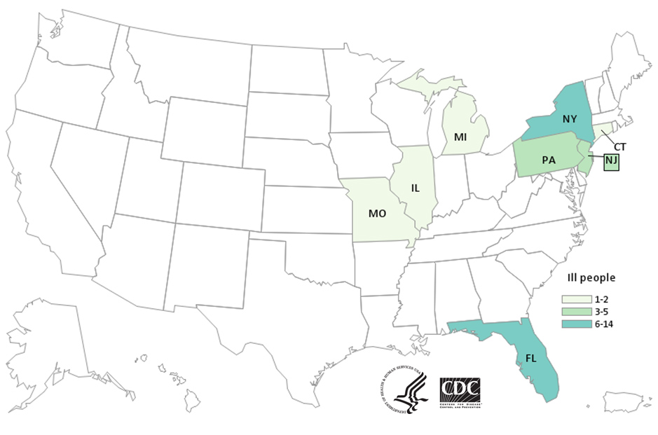 Map of United States - People infected with the outbreak strain of E. coli, by state of residence, as of September 6, 2019