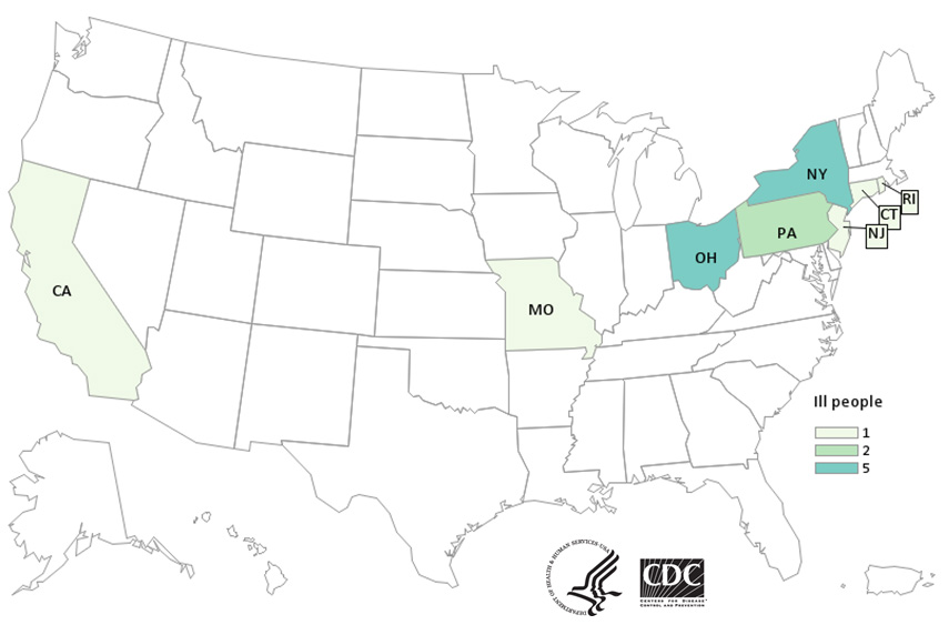 Map of United States - People infected with the outbreak strain of E. coli, by state of residence, as of May 24, 2019